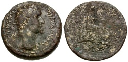 Ancient Coins - Domitian. Cilicia. Anazarbus Æ Diassarion / Tyche and River God