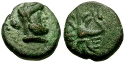 Ancient Coins - Pisidia, Selge Æ12 / Herakles / Thunderbolt and Bow