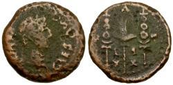 Ancient Coins - Augustus. Spain. Emerita Æ Semis / Eagle and Standards