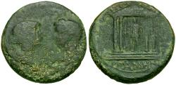 Ancient Coins - Tiberius (AD 14-37) with Livia. Mysia. Pergamon Æ19 / Temple of Divus Augustus