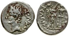 Ancient Coins - Augustus. P. Carisius, legate AR Quinarius