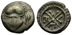 Ancient Coins - Thrace. Mesembria AR Obol / Helmet
