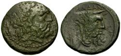 Ancient Coins - gF+/VF Akarnania, Oiniadai Æ22 / Zeus / Acheloos