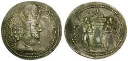 Ancient Coins - VF/VF Sasanian Kings Shahpur I AR Drachm / Fire Altar