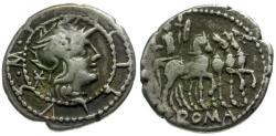 Ancient Coins - aVF/aVF 130 BC - Roman Republic M. Acilius M. f. AR Denarius /