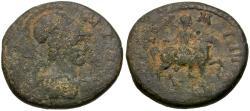 Ancient Coins - Lydia. Tomara. Pseudo-autonomous. Hermogenes Dionysiou, strategos Æ18 / Apollo-Mên