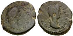 Ancient Coins - Domitian with Domitia. Thessaly. Koinon Æ Diassarion / Dual Portraits