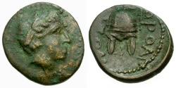 Ancient Coins - Macedon. Orthagoreia Æ14 / Helmet