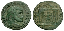 Ancient Coins - Maxentius Æ Follis / Roma in Temple