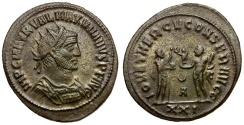 Ancient Coins - Maximianus Æ Post-reform Radiate / Jupiter presenting Victory to Emperor
