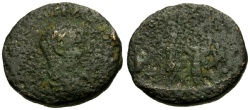 Ancient Coins - F/F Severus Alexander, Phoenicia, Akko-Ptolemais Æ21 / Emperor crowned by Serapis