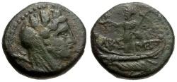 Ancient Coins - Phoenicia.  Tyre. Pseudo-Autonomous Issue Æ13 / Astarte on Galley