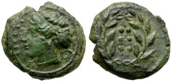 Ancient Coins - Sicily.  Himera Æ Hemilitron / Nymph and Wreath