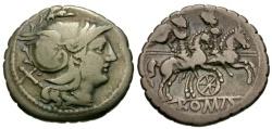 Ancient Coins - 209-208 BC - Roman Republic. Anonymous AR Serrate Denarius / Wheel