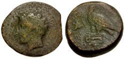 Ancient Coins - gF/gF+ Sicily Akragas Æ Hemilitron / River god / Eagle and crab
