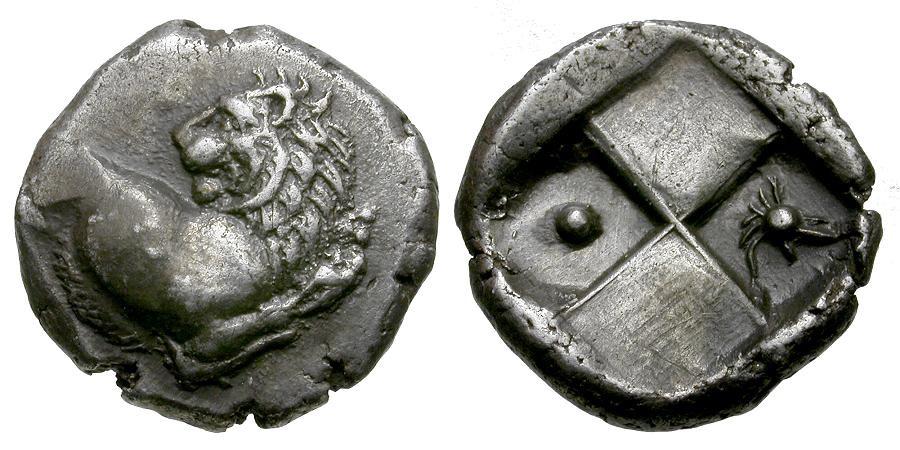 Ancient Coins - Thrace. Cherronesos AR Hemidrachm / Helmet and Pellet