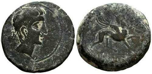 Ancient Coins - VF/VF Castulo Large Bronze AS / Sphinx