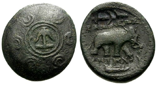 Ancient Coins - VF/VF Seleukid Kings of Syria Antiochos I AE20 / Horned Elephant and Jawbone