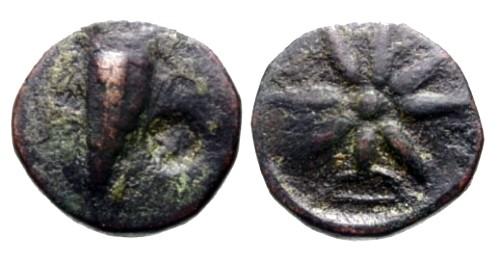 Ancient Coins - gF+/gF+ Bosporus and Pontos AE21 / Bow case / Star