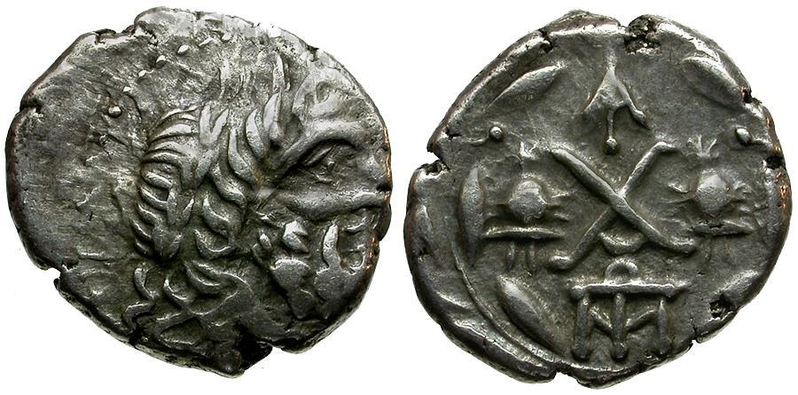 Ancient Coins - Achaia. Achaian Legaue. Lakedaimon (Sparta) AR Hemidrachm / Zeus