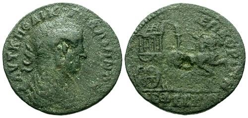 Ancient Coins - gF/gF Gallienus Ionia Ephesos AE27 / Covered wagon