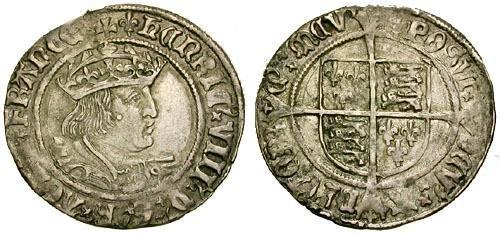 Ancient Coins - gEF/gVF England Henry VIII AR Groat Second Coinage