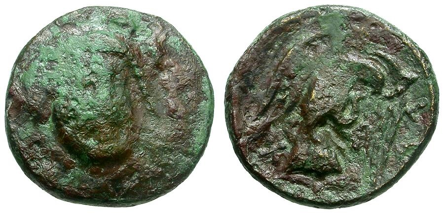 Ancient Coins - Euboia.  Chalkis Æ13 / Hera and Eagle