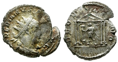 Ancient Coins - Valerian AR Antoninianus / Vulcan in temple
