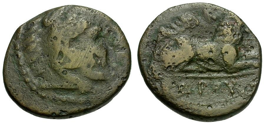 Ancient Coins - Kings of Macedon.  Kassander Æ17 / Herakles / Lion