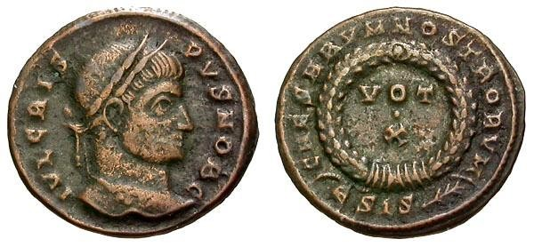 Ancient Coins - gF+/gF+ Crispus Æ3 / Votive Wreath
