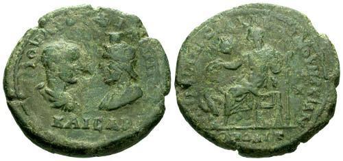 Ancient Coins - gF/F Philip II and Serapis AE17 Marcianopolis / Zeus