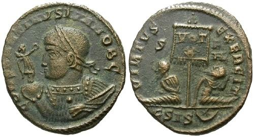 Ancient Coins - VF/VF Constantine II AE3 / Two captives