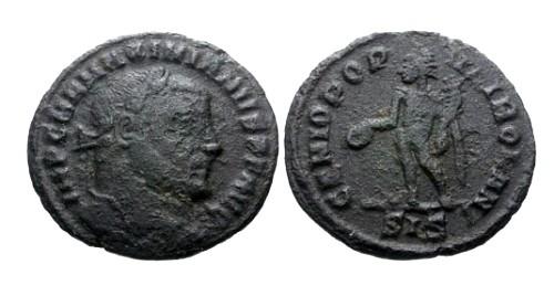 Ancient Coins - aVF/aVF Maximianus AE Quarter Follis / Genius