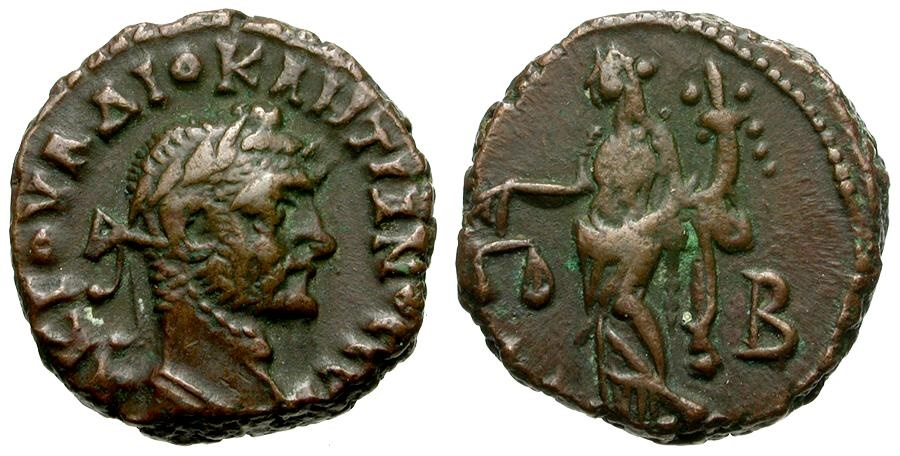 Ancient Coins - Diocletian. Egypt. Alexandria Æ Tetradrachm / Dikaiosyne
