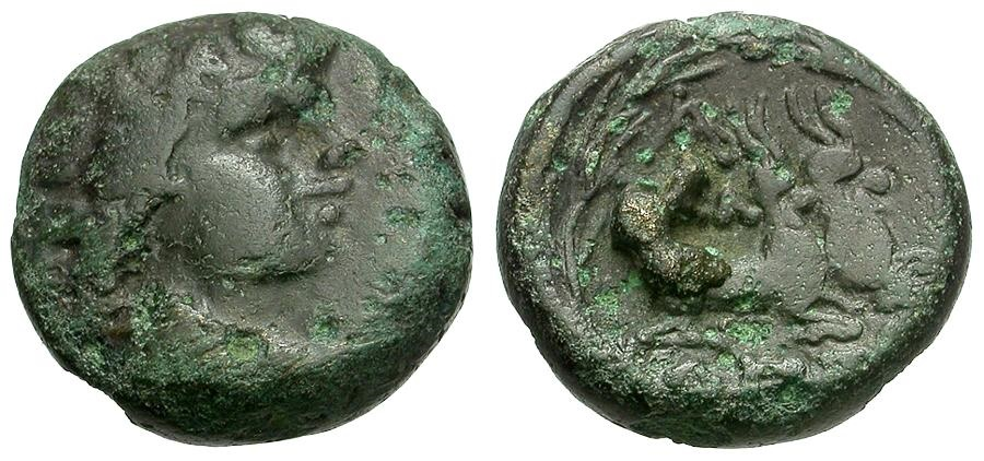 Ancient Coins - Macedonia.  Pella Æ16 / Pan / Two Goats