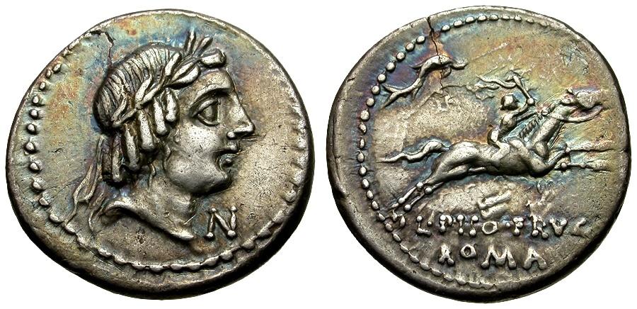 Ancient Coins - 90 BC - Roman Republic L. Calpurnius Piso Frugi AR Denarius / Dolphin