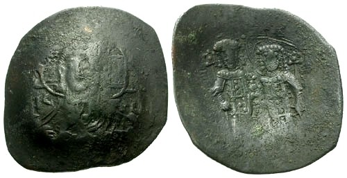 Ancient Coins - aVF/aVF Alexius III AE Trachy / Christ / Alexius and St. Constantine