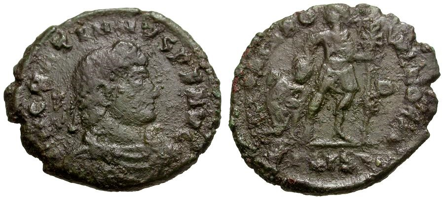 Ancient Coins - Gratian.  Æ3 / Gratian with Captive