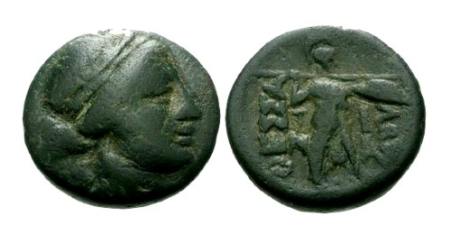 Ancient Coins - gF/gF Thessaly Confederacy AE17 / Apollo and Athena