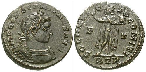 Ancient Coins - VF/VF Constantine I AE follis / Sol  R4