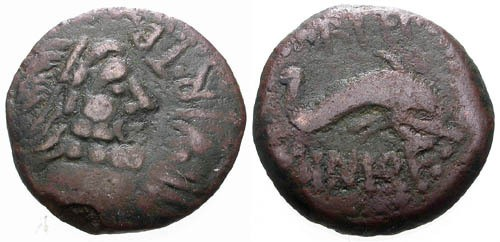 Ancient Coins - aVF/F Spain Carteia Time of Augustus AE18 / Neptune and Dolphin / William C Boyd collection