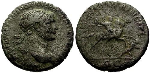 Ancient Coins - aVF/aVF Trajan AE AS / Horseman spearing fallen enemy