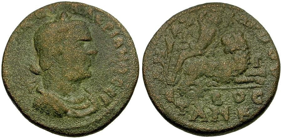 Ancient Coins - Valerian I (AD 253-260). Cilicia. Anazarbos Æ28 / Dionysos on Panther