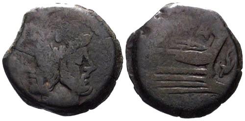 Ancient Coins - gF/gF 150 BC Roman Republic AS / SAFRA and Dolphin