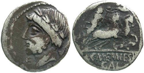 Ancient Coins - 87 BC / F/VG Memmia 8 Roman Republic Denarius / Saturn and Harpa