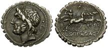Ancient Coins - 106 BC - Roman Republic L. Scipio Asiagenus Serrate AR Denarius / Jupiter in Quadriga