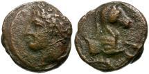 Ancient Coins - Sicily. Panormos Æ16 / Horse