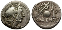 Ancient Coins - 76-75 BC - Roman Republic. Cn. Lentulus Q. AR Denarius / Genius / Sceptre, Globe and Rudder