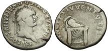 Ancient Coins - Domitian as Caesar AR Denarius / Corinthian Helmet on Pulvinar