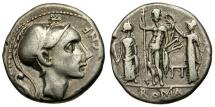 Ancient Coins - 112-111 BC - Roman Republic. CN Blasio AR Denarius / Jupiter with Juno and Minerva